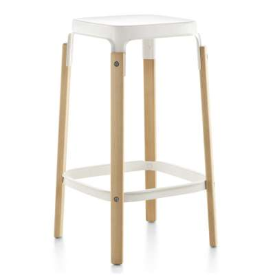 Steelwood Bar Stool Black, American Walnut, Medium