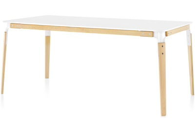 Steelwood Table - Rectangular White with Natural