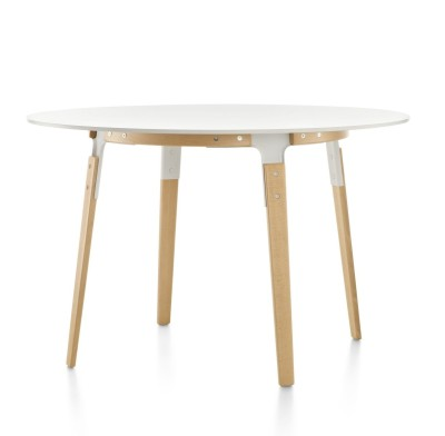 Steelwood Table - Round White with Natural