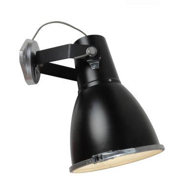 Stirrup Wall Light with Sandblasted Glass Black