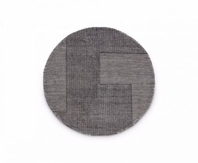 Stripe Rug Round Black and white
