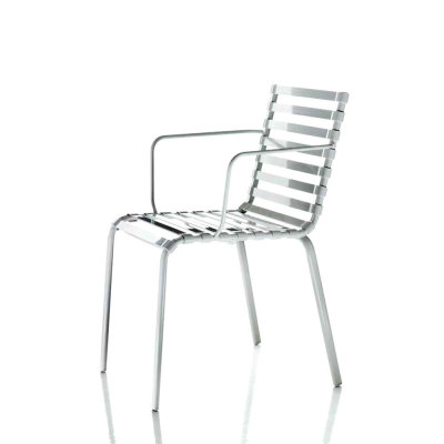 Striped Armchair - Set of 2 Black Frame, Smoke Grey Slats