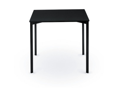 Striped Dining Table - Square White Frame and Top With Black Edge