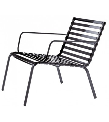 Striped Low Armchair - Set of 2 Black Frame, Smoke Grey Slats