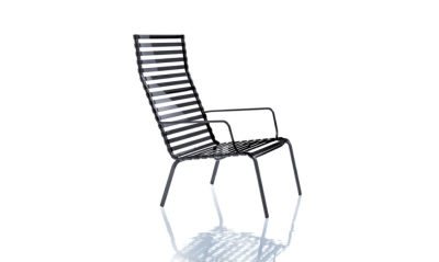 Striped Low Armchair with High Back - Set of 2 Black Frame, Smoke Grey Slats