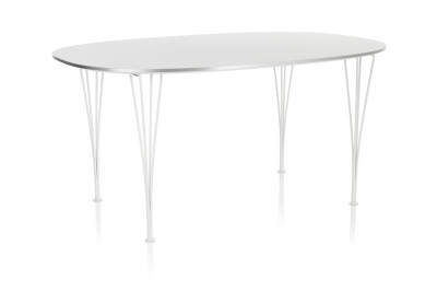 Super-elliptical Dining Table Laminate Standard Colour White 90 x 135 Chromed