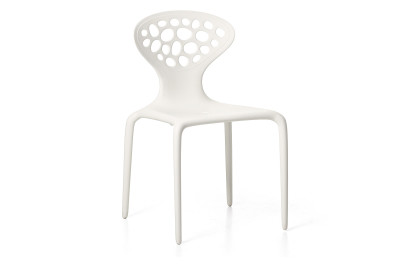 Supernatural Set of 4 Dining Chairs with Perforated Back White