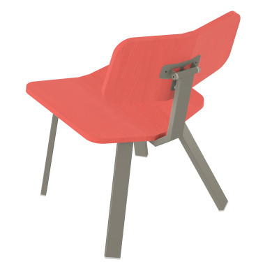 Swing Chair Low  Swing Chair Low-red stained solid ash seat and back-grey frame