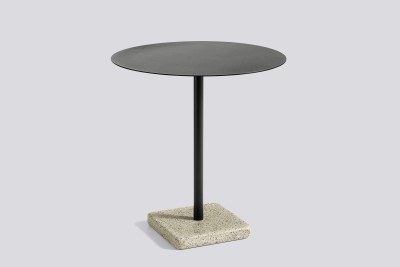 Terrazzo Round Outdoor Table Charcoal Top with Yellow Base