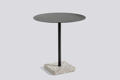 Terrazzo Round Outdoor Table Charcoal Top with Grey Base