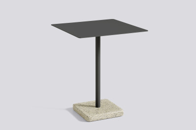 Terrazzo Square Outdoor Table Charcoal with Yellow Base