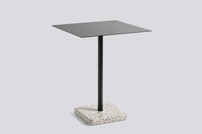 Terrazzo Square Outdoor Table Charcoal with Grey Base