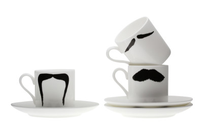 The Moustache Espresso Cup and Saucer Family Set of Three