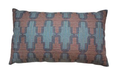 Tile Long Cushion Blue and Burgundy on flax