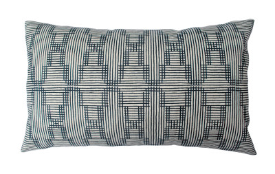 Tile Long Cushion Dark Blue on ivory
