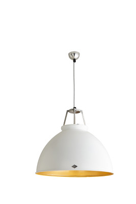 Titan Size 5 Pendant Light White with Gold Interior
