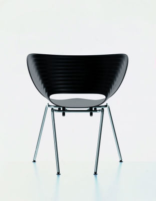 Tom Vac Chair 01 basic dark, 04 glides for carpet, silver powder-coated