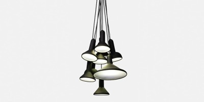 Torch Pendant Light, Bunch - S10 Black Shade with Black Cable