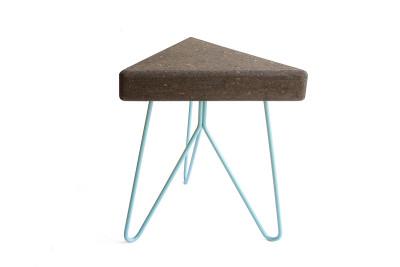 Três Stool.table - dark cork, blue legs