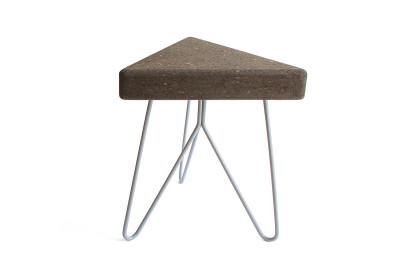 Três Stool.table - dark cork, grey legs