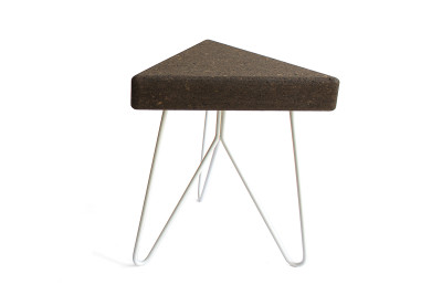 Três Stool.table - dark cork, white mate legs