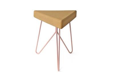 Três Stool.table - light cork, pink legs