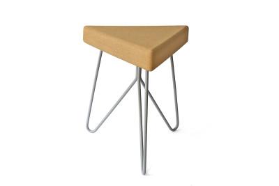 Três Stool.table - light cork, grey legs