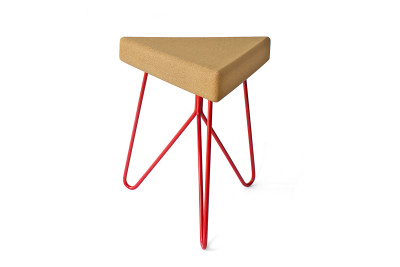 Três Stool.table - light cork, red legs