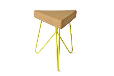 Três Stool.table - light cork, yellow legs