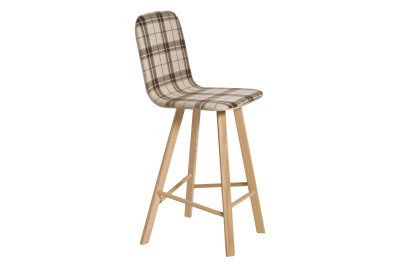 Tria High Backed Bar Stool Tartan Beige Fabric