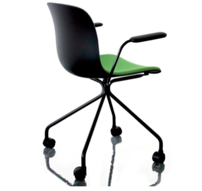 Troy Armchair - 4 Star Base on Wheels with Front Cover Black Frame, Beech Stained Black Seat, Steelcut 2 Black, Plywood