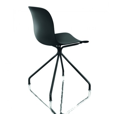 Troy Chair - 4 Star Base Chromed Frame, Black Beech Seat, Swivel