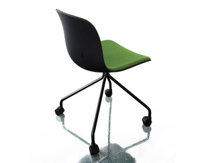 Troy Chair - 4 Star Base on Wheels with Front Cover Black Frame, Beech Stained Black Seat, Polypropylene, Steelcut 2 Black