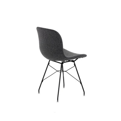 Troy Chair - Steel Rod Base - Fully Upholstered Divina Melange 2 180 Fabric and Black Base