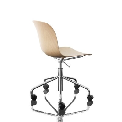 Troy Chair - Swivel Base on 5 Wheels Black Frame, Beech Stained Black Seat