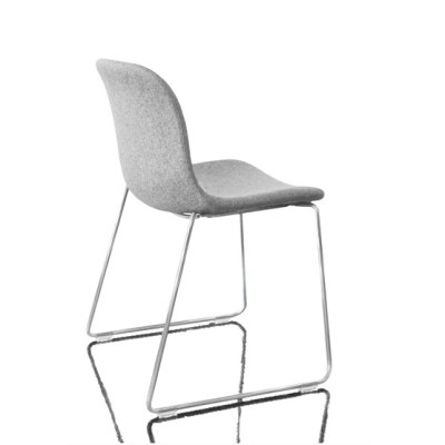 Troy Stacking Chair - Sledge Base, Fully Upholstered - Set of 2 Divina Melange 2 180 Fabric and White Base