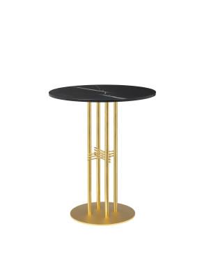 TS Column Bar Table Marble Ø80, Frame Brass, Gubi Marble Nero Marquina