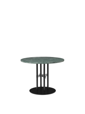 TS Column Lounge Table Marble Ø80, Frame Matt Black, Gubi Marble Verde Guatemala