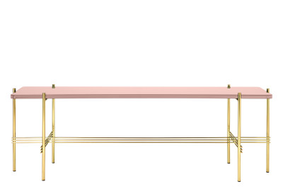 TS Rectangular Console Table with One Glass Plate Vintage Red Top and Brass Frame
