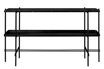TS Rectangular Console Table with One Marble Plate and One Metal Tray Black Top and Black Frame