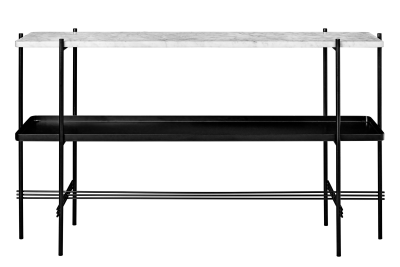 TS Rectangular Console Table with One Marble Plate and One Metal Tray White Top and Black Frame