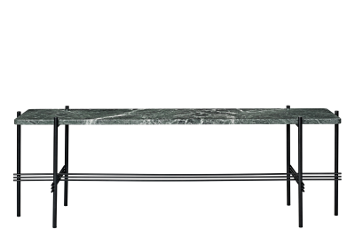 TS Rectangular Console Table with One Marble Plate Green Top and Black Frame