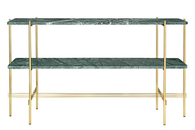 TS Rectangular Console Table with Two Marble Plates Gubi Marble Verde Guatemala, Frame Brass