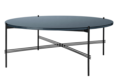 TS Round Coffee Table with Glass Top Grey Blue Top and Black Frame, Ø 105 x 40 cm