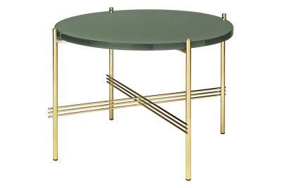 TS Round Coffee Table with Glass Top - Brass Frame Gubi Glass Rusty Red, Gubi Metal Brass, Ø40x51 cm