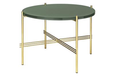 TS Round Coffee Table with Glass Top - Brass Frame Gubi Glass Dusty Green, Gubi Metal Brass, Ø55x41 cm