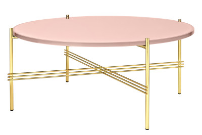 TS Round Coffee Table with Glass Top - Brass Frame Gubi Glass Vintage Red, Gubi Metal Brass, Ø80x35 cm