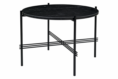 TS Round Coffee Table with Marble Top Black Top and Black Frame, Ø 55 x 41 cm