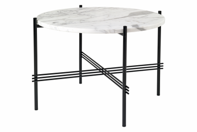 TS Round Coffee Table with Marble Top White Top and Black Frame, Ø 55 x 41 cm