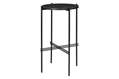 TS Round Console Table with Marble Top Black Top and Black Frame